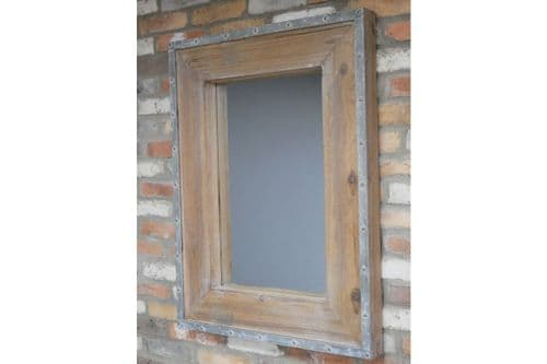 Industrial Rustic Brown Wood Grey Metal Wall Hanging Mirror (DX6633) 99cm